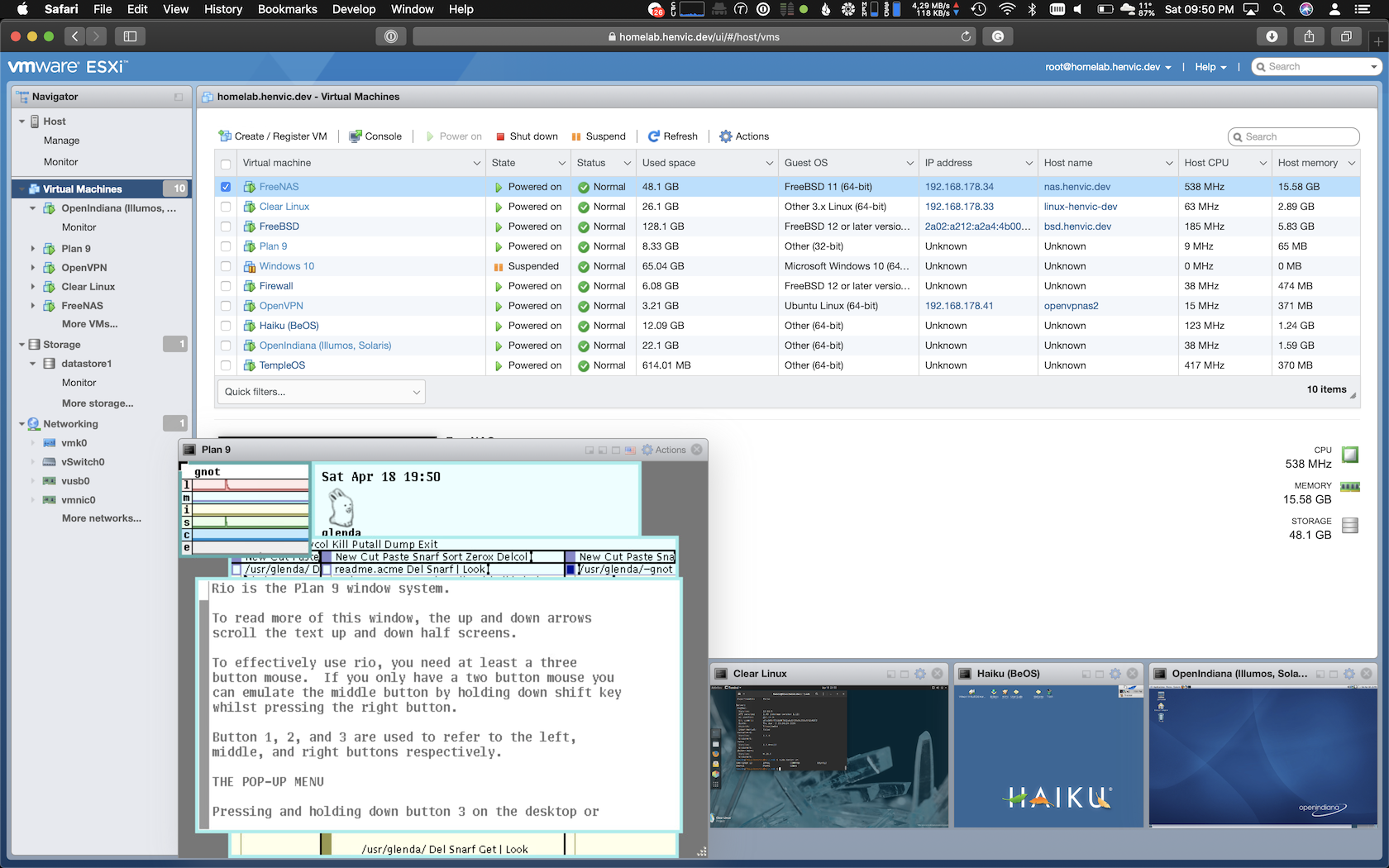 VMware ESXi 7 web client showing a virtual machine console running Plan 9 from Bell Labs