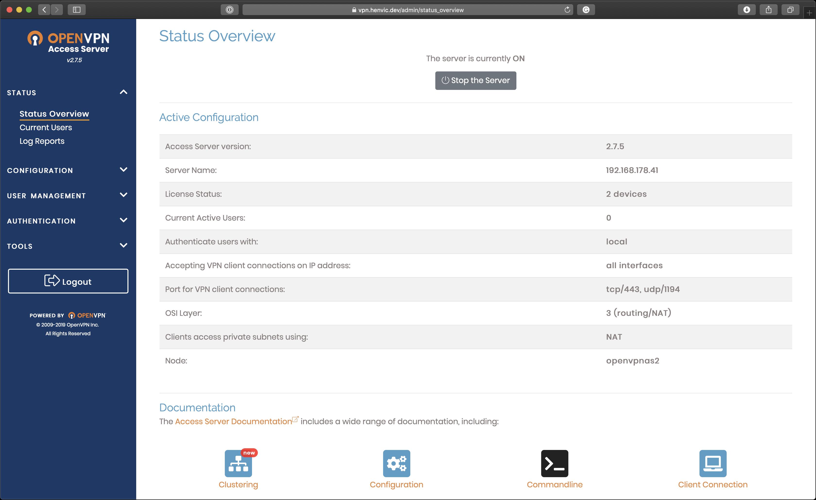 OpenVPN web client)